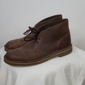 Clarks Chukka Brown Leather Boots, Sz 7.5